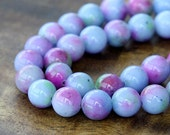 Mountain Jade Beads, Blue and Purple Mix, 8mm Round - 15.5 Inch Strand - eMCJ-413-8