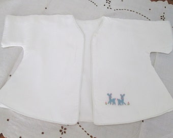Vintage Baby Clothes, 1950s Julius Berger  Co Baby Girl Crib jacket white & blue Baby jacket, felt  embroidered baby deer, Size 6 months