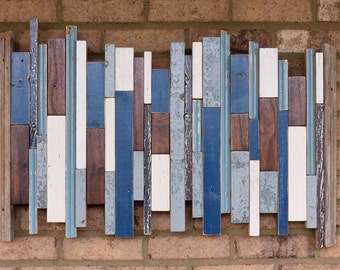 Noise - Painted reclaimed wood and walnut varied stripe