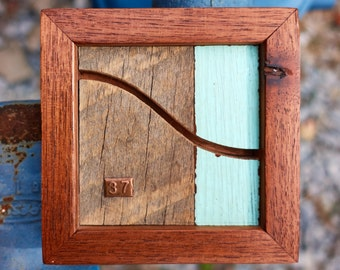 """Reclaimed Wood and Copper MicroArt """"37"""""""