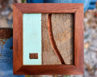 """Reclaimed Wood and Copper MicroArt """"49"""""""