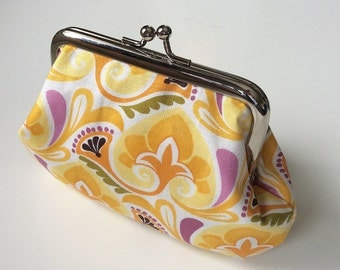 Kate Spain yellow fabric metal frame coin purse