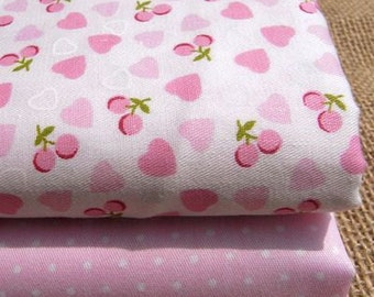 2 pieces Pink Twill Group Series Color Collection Cotton Cloth Quilt Fabric-DIY Handmade Fabric Cloth