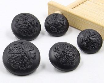 6 Pcs 0.71~0.98 Inches Matte Black Paint Lion Crown Plastic Shank Buttons For Coats