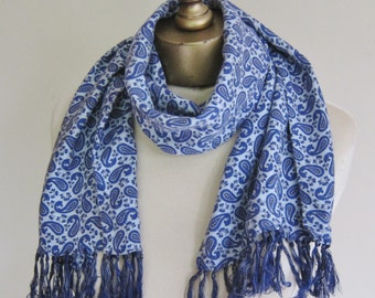 Vintage paisley scarf, mens scarf. TOOTAL fringed scarf, 1950s scarf, blue paisley long scarf, gentlemens scarves, English scarf