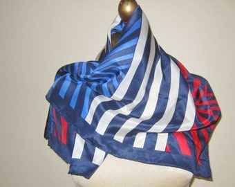 Christian Fischbacher silk scarf, geometric, red white and blue, hand rolled, urban luxury