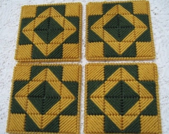 Coasters - Dark Green and Gold - Quilt Blocks - Set of 4