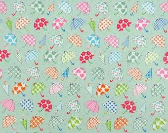 Kawaii Umbrella Cotton Fabric, Fabric By The Yard, Quilt Fabric, Green Cotton Fabric, Star Fabric, Polka Dots Cotton Fabric