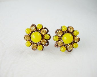 Bright Yellow Rhinestone Earrings. Gift for Her. Stud Earrings. Vintage Style Jewelry. Yellow Earrings. Gift Ideas