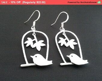 Skylark on the swing Drop, Dangle Earrings