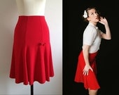 RED TRUMPET SKIRT/ 1940s style / Lindy Hop Skirt / Swing Skirt