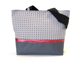 tote bag grey geometric fabric , shoulder bag in leatherette and graphic fabric ,zippered handbag in grey faux leather and canvas