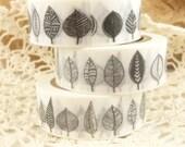Black and White Stylized Henna Pattern Leaves Washi Tape - I2246