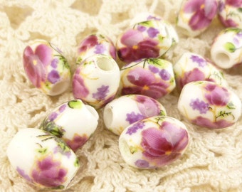 Exotic Pink Flower Oval Ceramic Beads (6)