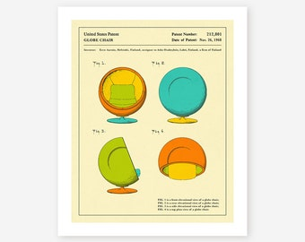 GLOBE CHAIR (1968), Giclée Fine Art Print, Retro Patent Pop Art for the Home Decor