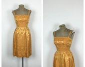 1950s Orange Brocade Wiggle Dress • 50s Fitted Formal Sleeveless Cocktail Dress • Sexy Party Dress • Small