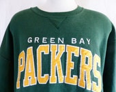 vintage 80's 90's Green Bay Packers NFL Football forest dark green fleece graphic sweatshirt yellow white embroidered applique logo pull XXL