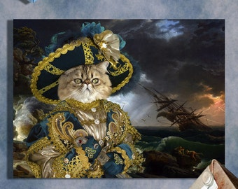 Persian Cat Fine Art Canvas Print - A Shipwreck in Stormy Seas and Noble Pirate