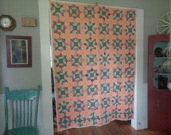 Vintage Quilt, Compass Star Quilt, Eight Point Star Quilt