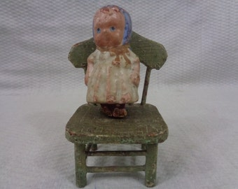 Antique Miniature Baby Doll On Old Green Chair, Folkart, Country Cottage