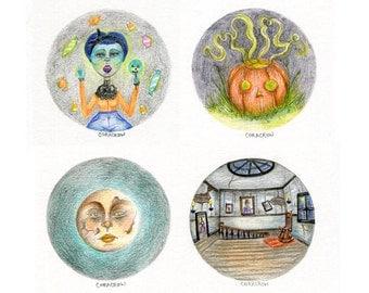 "Halloween Originals - 5x7"" Original Drawing, Drawlloween, Colored Pencils"