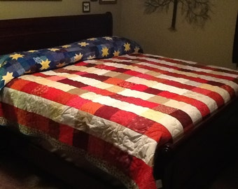 "Quilt Kit - Americana Flag - Pre Cut Pieces!  99"" x 93"""