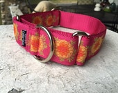 """Pearl's Pink Marigolds 1.5"""" Martingale Collar"""