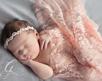 Ready To Ship Baby Headband, Off White Newborn Headband, photo prop Newborn Tieback, Newborn Headband, Pearl Tieback