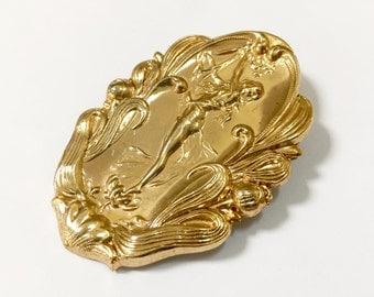 Art Nouveau Pin - Nymph Pin - Lady Pin - Gold Tone - Scrolly Pin - Thin Delicate Pin