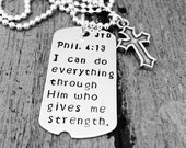 Personalized men's jewelry, Custom Dog Tag Necklace, Sterling silver dog tag, Name or Quote, Daddy jewelry, Mens personalized dog tag, Cross