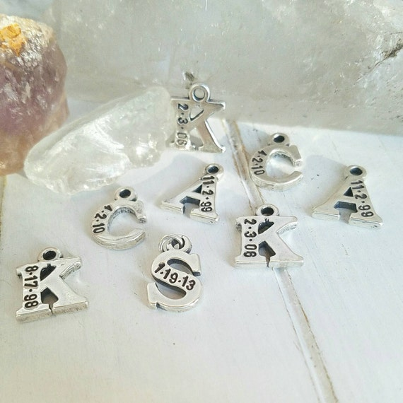 Add on charm, Small, Initial and Date Jewelry, Sterling Silver, Letter charm, Add On ONLY, Hand Stamped, Custom, Personalized Mother Charm