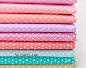 Pastel Pink Purple Dots Cotton, Light Pink Green Beige Fabric with White Pin Dots, Polka Dots Cotton, Fabric with Dots - 1/2 yard
