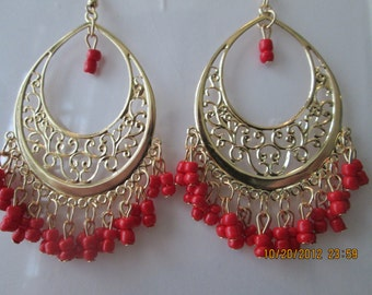 Gold Tone Chandelier Earrings with Red Bead Dangles