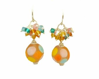 Etched Colorful polkadot glass lampwork bead earrings, multi-colored dangling Swarovsi crystals, Sterling Silver, Daisy beads