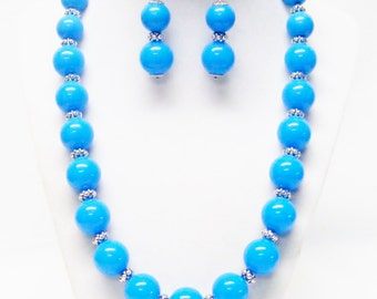 Round Blue Acrylic Bead Necklace & Earrings Set