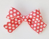 "Baby / Girls// Fabric Bow Headband OR Hair Clip, Coral and White Polka Dot Bow ""Coral"" by charliecocos"