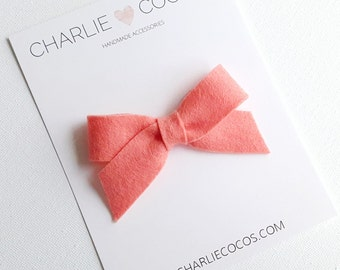 "SALE Baby / Girls Felt Bow Headband OR Hair Clip ""Papaya"" -Premium Wool Felt Bow by charlie coco's"