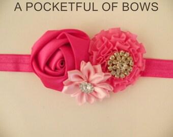 Pink Valentine Headband, Baby Headband, Newborn Headband, Flower Headband