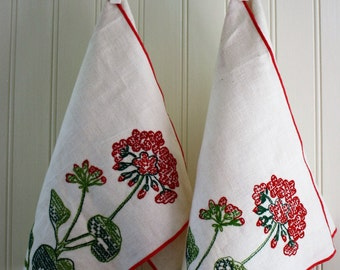 Pair of Sweetly Stitched Linen Placemats