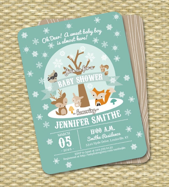 winter woodland baby shower invitation winter baby shower, Baby shower invitations