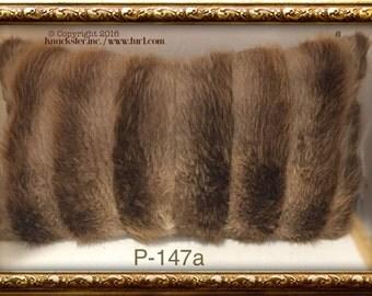 P-147 Genuine Brown Beaver Fur Pillow 26 x 16