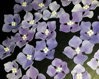 48 Edible HYDRANGEA Flowers / any color / Gum Paste / fondant /sugar flower / cake or cupcake decoration or toppers