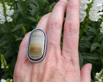 Imperial Jasper Sterling Silver Cocktail Ring. Scenic Jasper Stone. Horizontal Lines. Sage Green Yellow Orange. US Ring 5 1/2