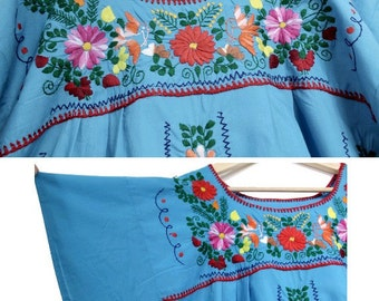 1970 embroidered Mexican Dress / 70s blue mexican dress