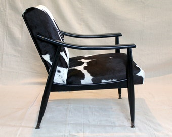 Vintage Mid Century Chair - Upcycled Furniture - Cowhide Leather - Paoli Chair Co. - 1963 - MCM Furniture - Black and White