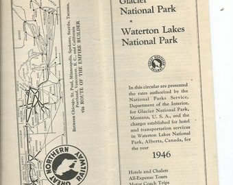 Vtg 1946 Great Northern Railway Glacier National Park Canada & Waterton Lakes National Park Tour Brochure w/Route Map Tour Info and Cost