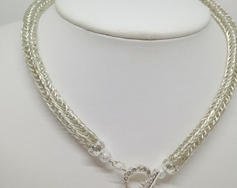 Ladies front clasp viking knit necklace
