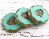 Turquoise, Large Round Czech Bead with Heart Embossed Pattern, Picasso Czech Heart Beads, 3pcs // BD-016