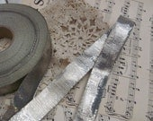 """Antique French Early Century Bright Silver Metal Lame Ribbon 3/4"""" .75"""" Inch 20mm Wide ONE YARD"""
