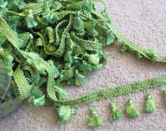 Green Tassel Fringe Upholstery Pillow Costume Trim  - 1.25 Inch Wide - 2 Yards Each Length (08)